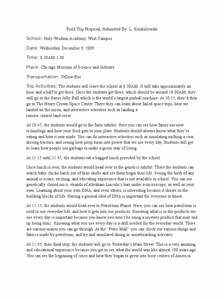 Field Trip Letter Template Fresh Field Trip Proposal Template