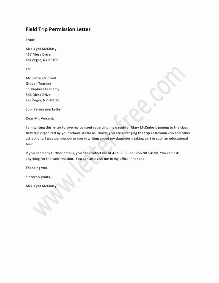 Field Trip Letter Template Luxury 9 Best Sample Permission Letters Images On Pinterest