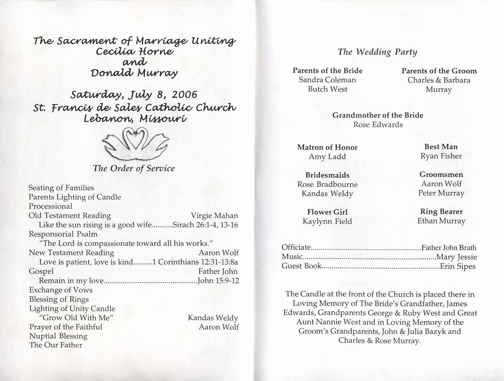 Filipino Catholic Wedding Program Awesome Free Printable Wedding Programs Templates