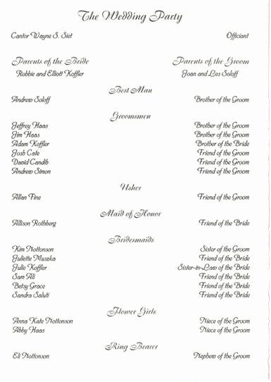 Filipino Catholic Wedding Program Awesome Wedding Party List Template Free