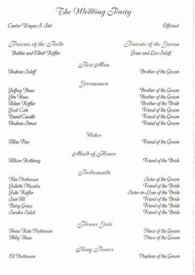 Filipino Catholic Wedding Program Awesome Wedding Party List Template Free