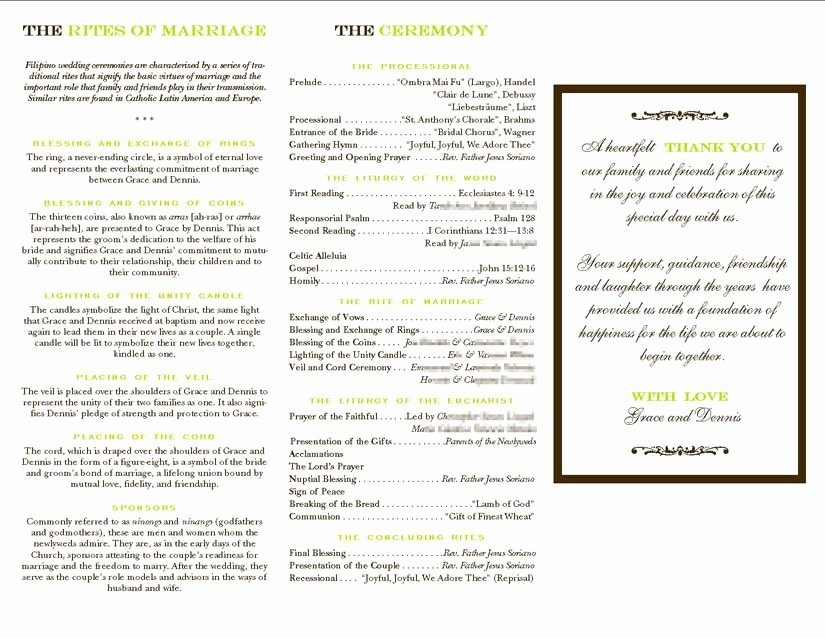 Filipino Catholic Wedding Program Inspirational Filipino Mass Program PapelerÍa Boda Yibol