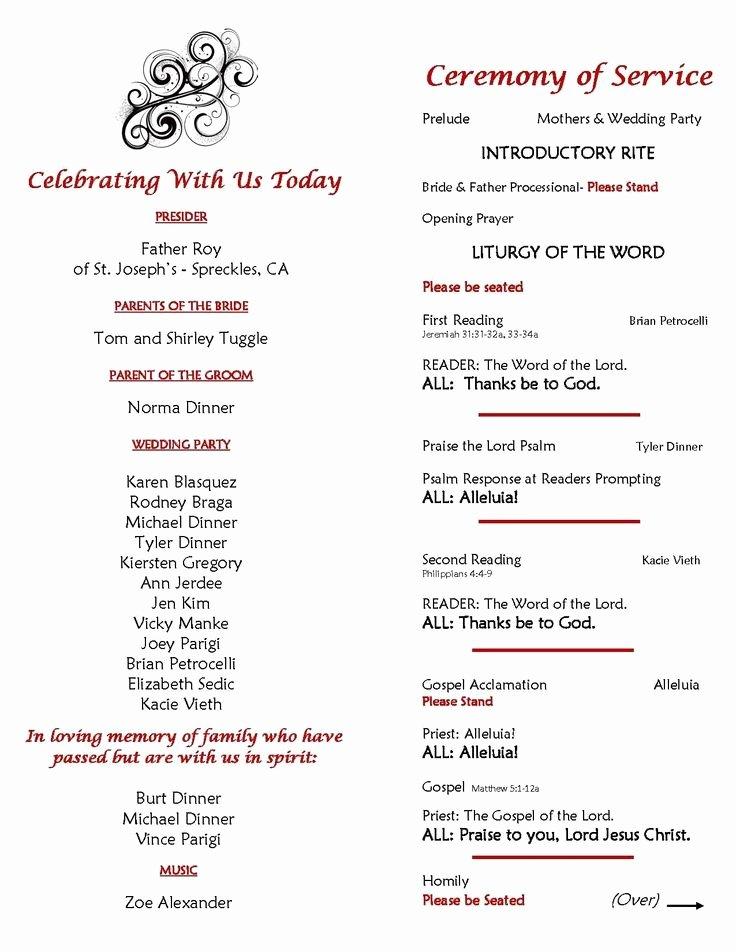 Filipino Catholic Wedding Program Lovely E Page Program Template Wedding