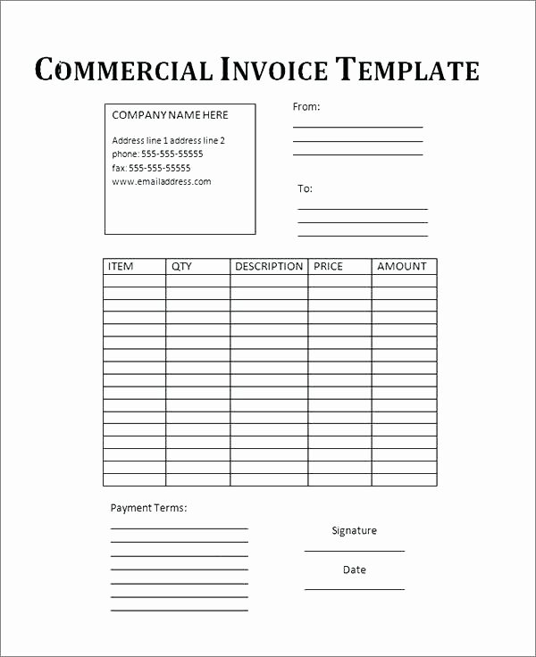 Fillable Invoice Template Word Awesome Printable Mercial Invoice Template 12 Clarifications