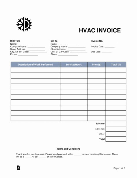 Fillable Invoice Template Word Beautiful Hvac Invoices Templates