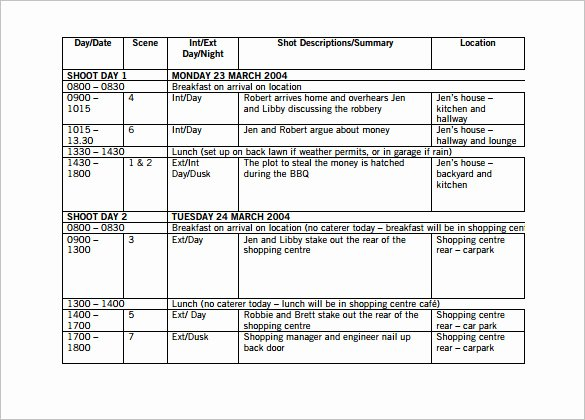 Film Schedule Template Awesome 11 Shooting Schedule Templates Pdf Doc