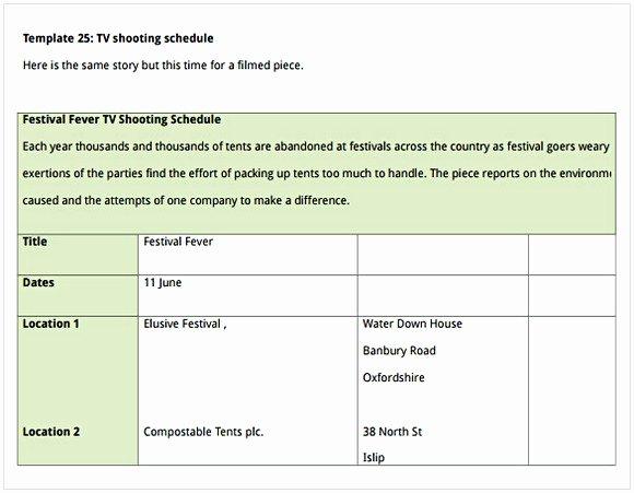 Film Schedule Template Best Of Shooting Schedule Template