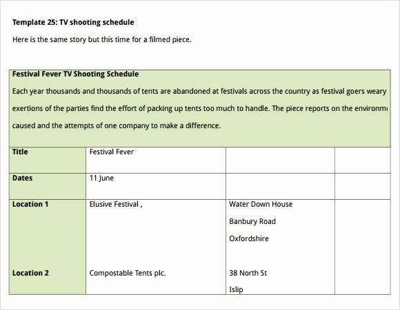 Film Schedule Template Elegant Sample Shooting Schedule 12 Documents In Pdf Word Excel
