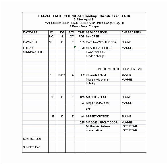 Film Schedule Template Fresh 11 Shooting Schedule Templates Pdf Doc