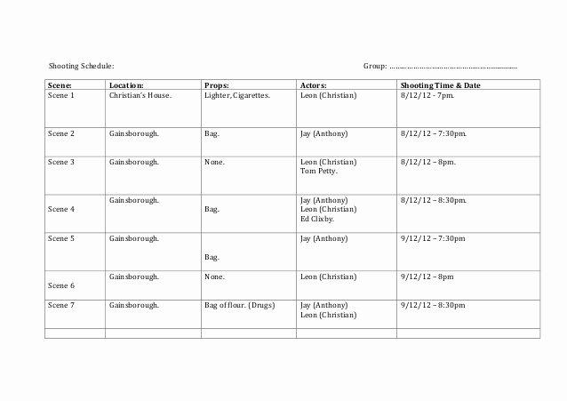 Film Schedule Template Lovely Shooting Schedule Template 1 638 – Media Stu S