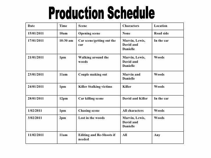 Film Schedule Template Luxury Production Schedule