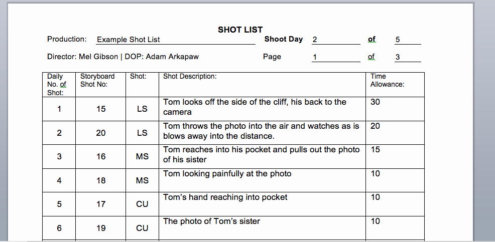 Film Schedule Template New Shooting How Do I Write Up A Shot List Video