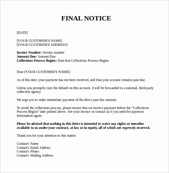 Final Notice Collection Letter Best Of Final Notice Letter 7 Documents Download In Pdf Word