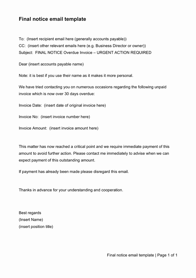 Final Notice Collection Letter Inspirational Collection Letter Template Free Documents for