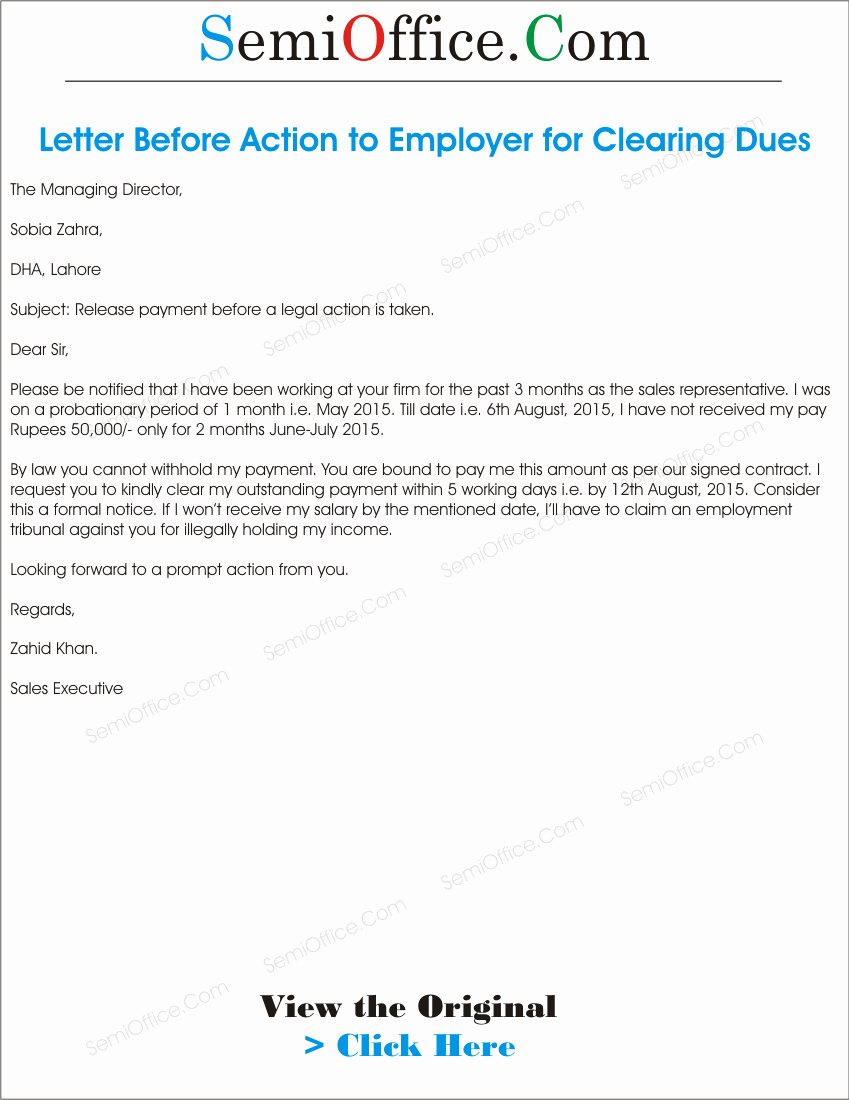 Final Notice Letter before Legal Action Lovely Letter before Action to Employer
