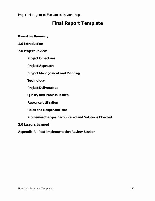 Final Project Report Sample Inspirational Project Management Sample