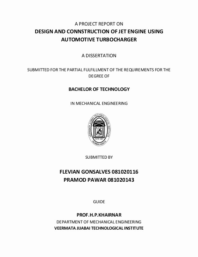 Final Project Report Sample New Final Year Project Report Jet Engine