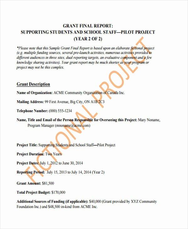 Final Project Report Sample Unique 10 Grant Report Templates