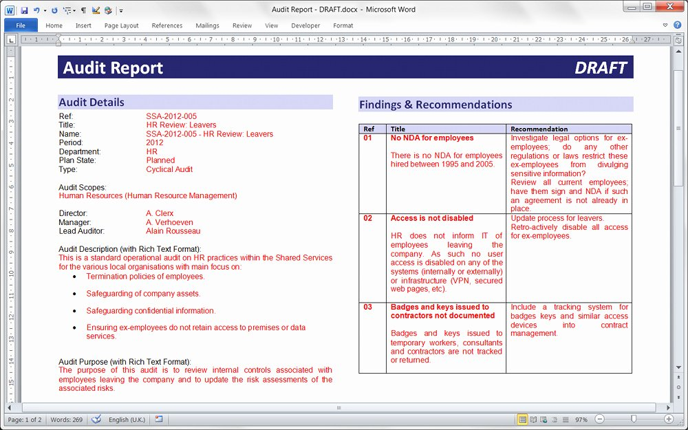 Findings Report Template Awesome Pentana Supporting Your Audit Methodology