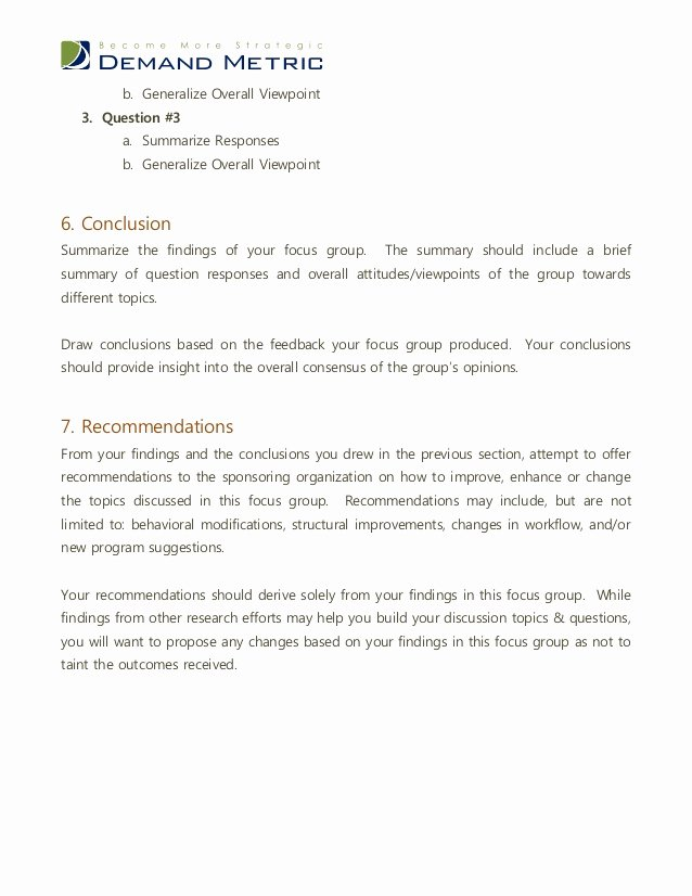 Findings Report Template Best Of Focus Group Report Template