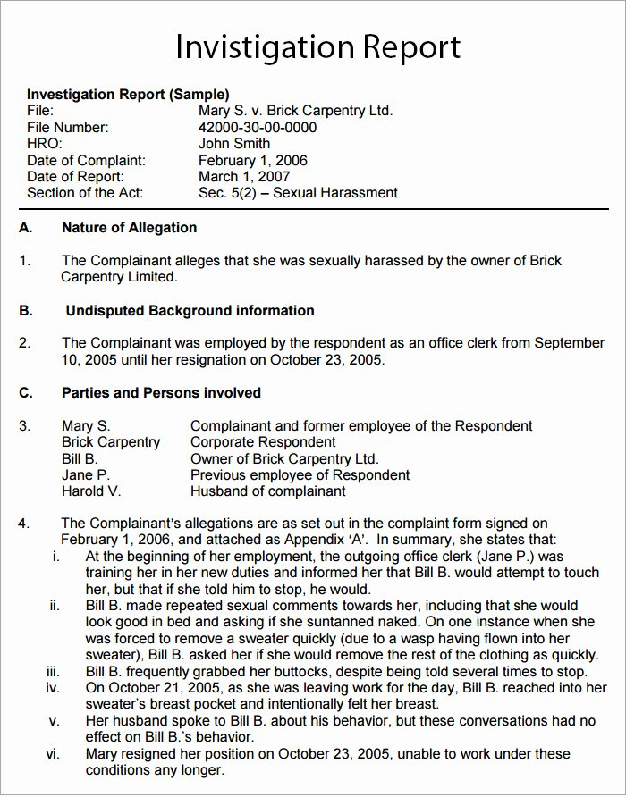 Findings Report Template Best Of Workplace Investigation Report Template 7 Free Pdf