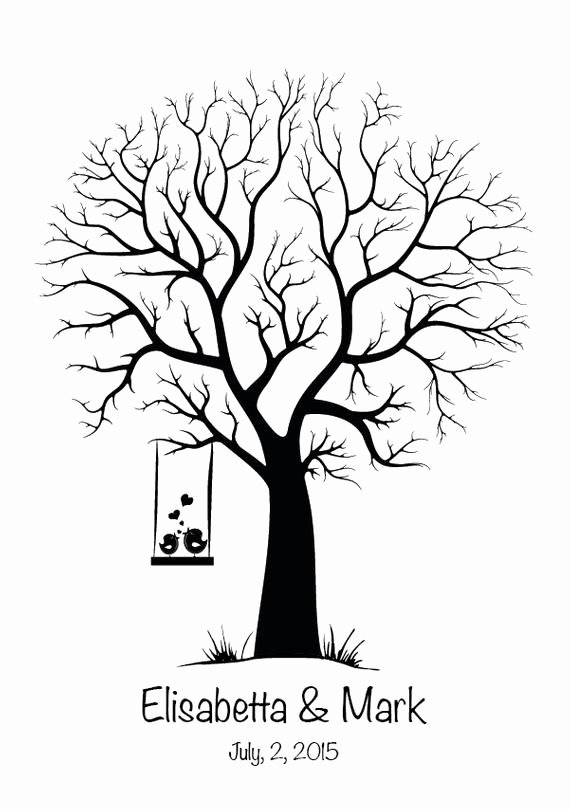 Fingerprint Trees Templates Lovely Canvas Wedding Tree Guest Book Hand Drawn Fingerprint Tree