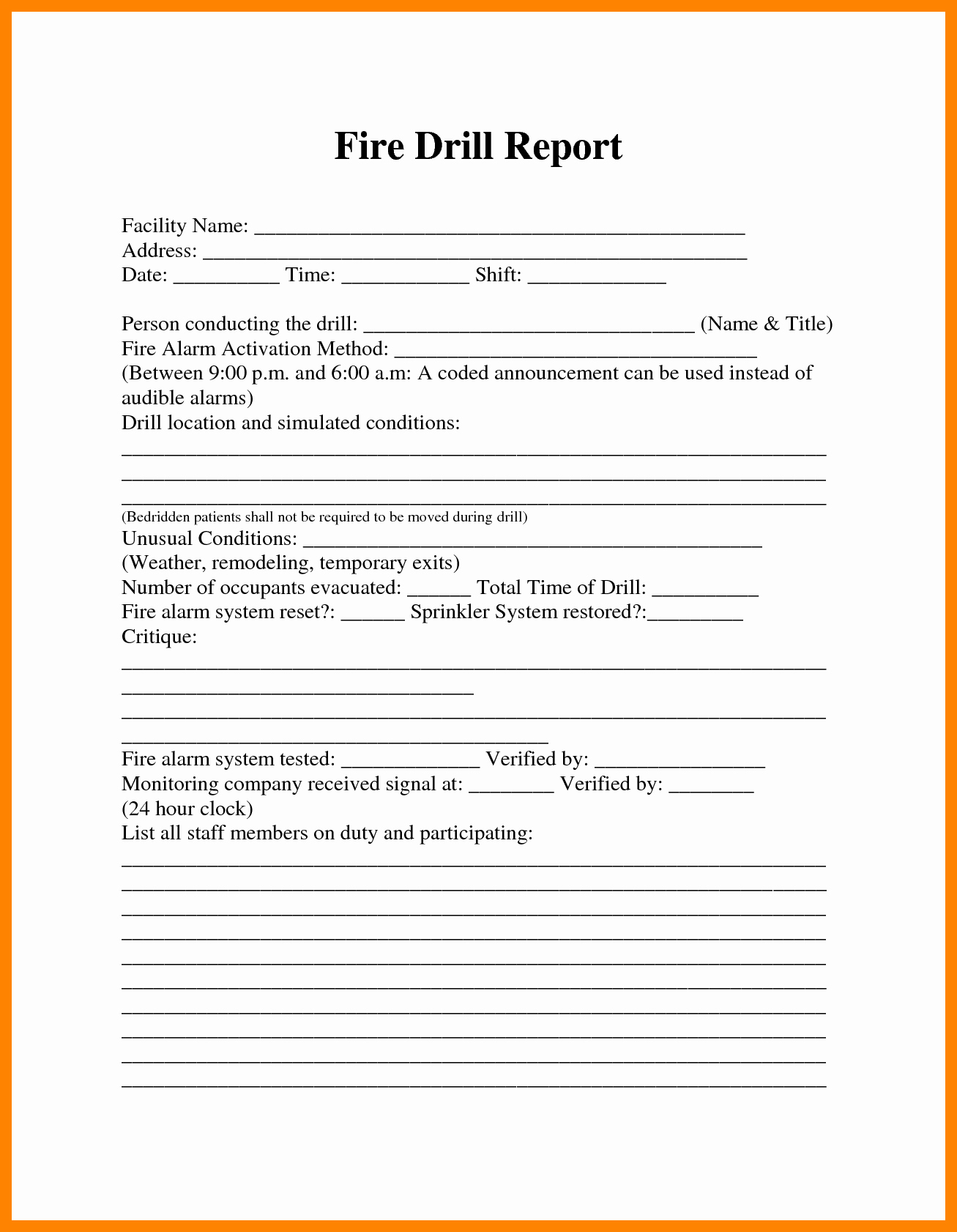 Fire Drill Report Sample Best Of Image Result for Fire Drill Procedures for Summer Camp