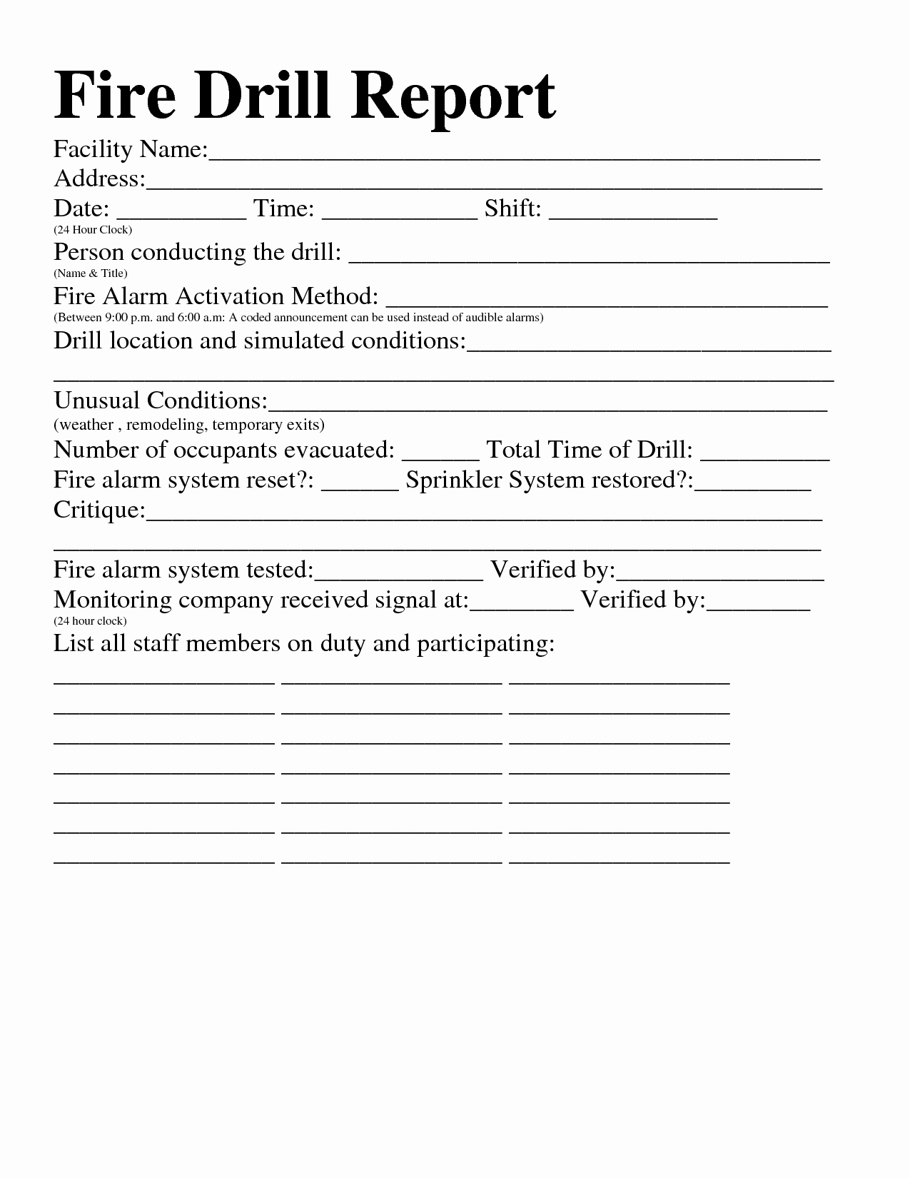 Fire Drill Report Sample New Best S Of Fire Drill Report Fire Drill Report