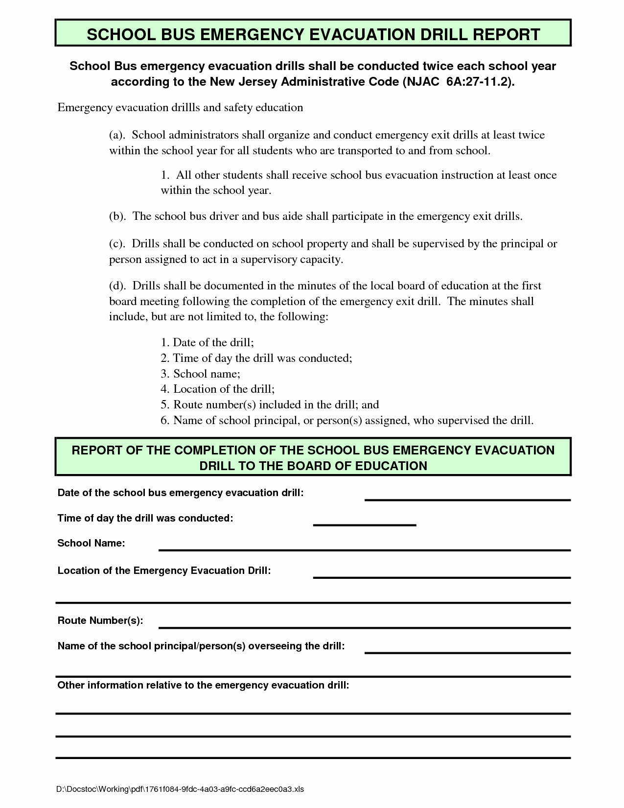 Fire Drill Report Template Beautiful Best S Of Emergency Evacuation Drill Report Sample