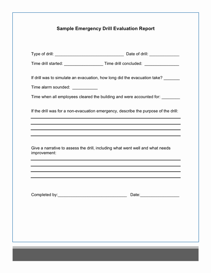 Fire Drill Report Template Lovely Sample Emergency Drill Evaluation Report In Word and Pdf