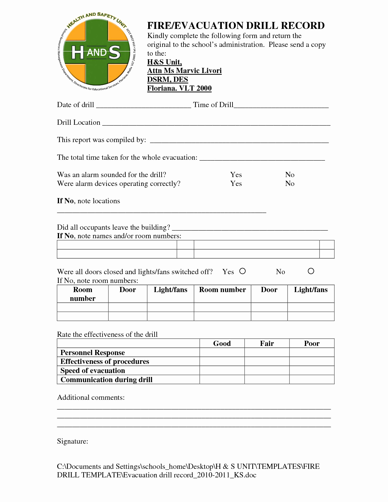 Fire Drill Report Template Luxury Best S Of Acsa Emergency Evacuation Drill form Fire