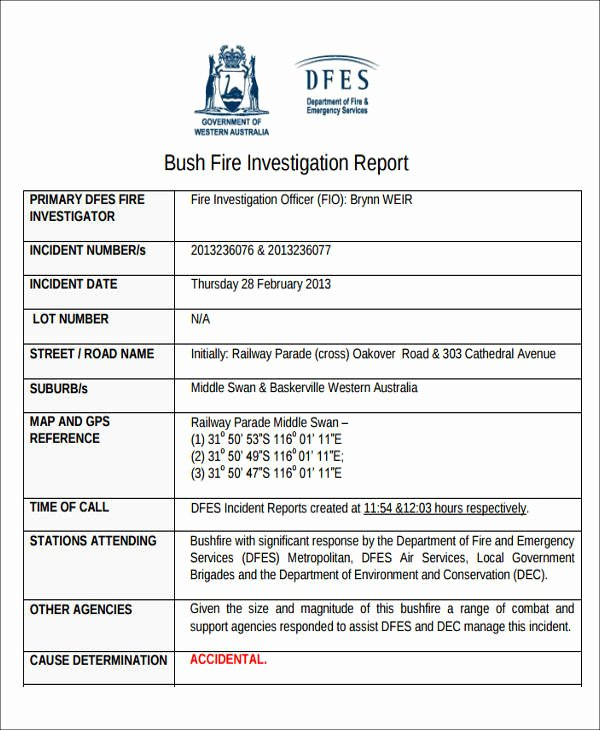 Fire Report Template Best Of 59 Incident Report formats Pdf Word Docs