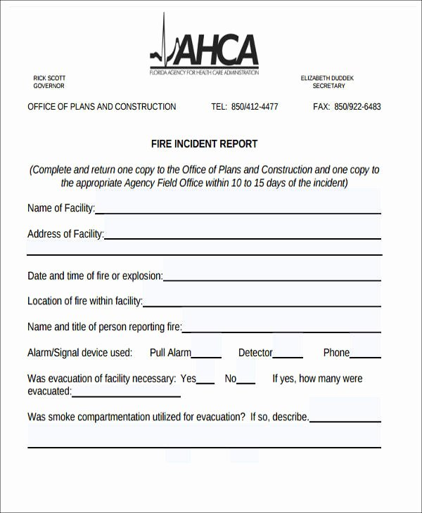 Fire Report Template Luxury 59 Incident Report formats Pdf Word Docs