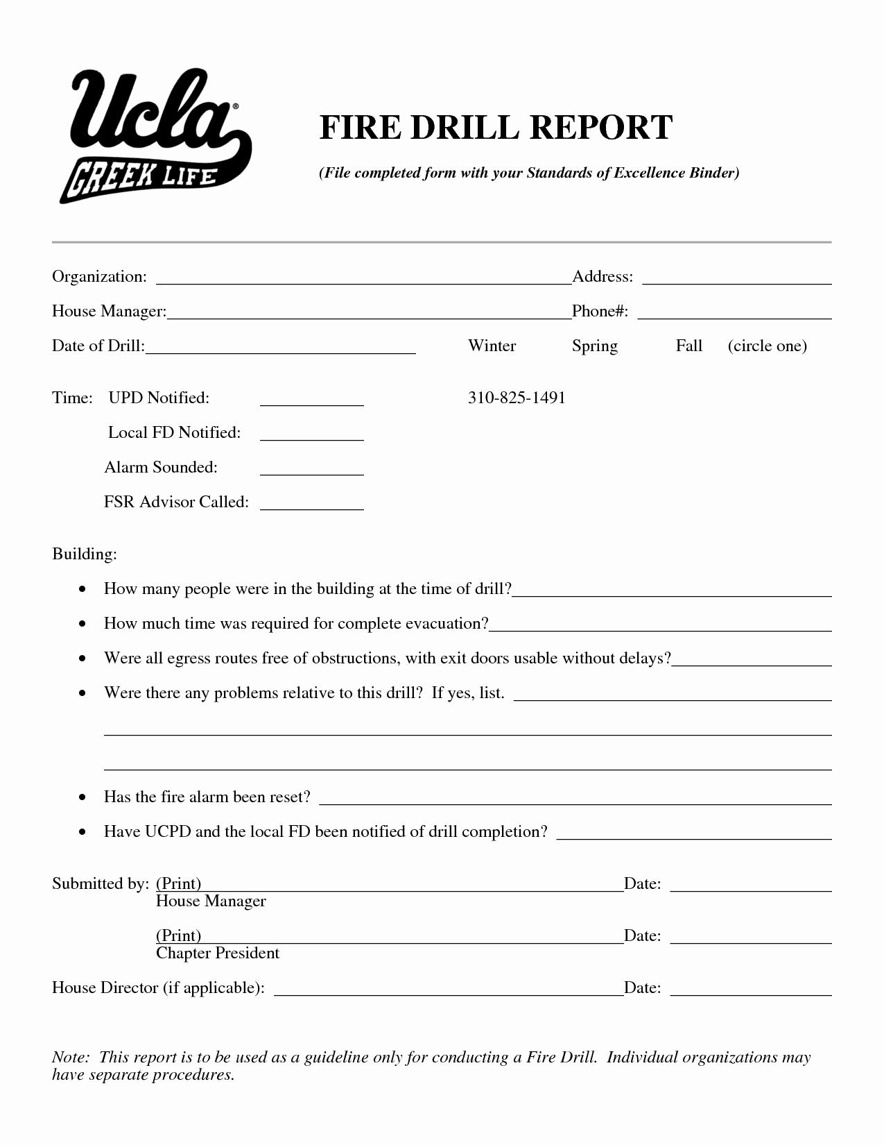 Fire Report Template Luxury Best S Of Fire Drill form Fire Drill Report form