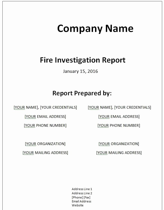 Fire Report Template New Sample Templates Free formats Excel Word
