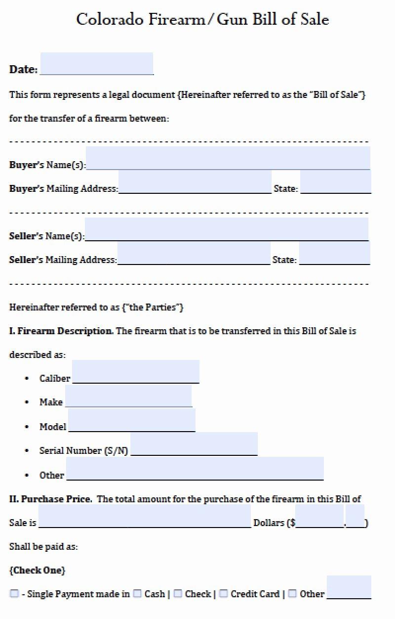 Firearm Bill Of Sale Word Doc Fresh Free Colorado Gun Firearm Bill Of Sale form Pdf
