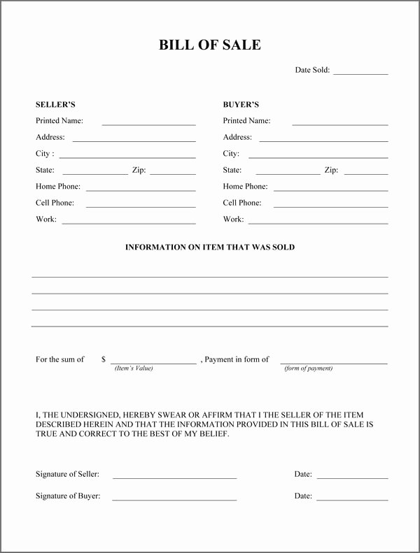 Firearms Bill Of Sale Template Fresh Free Printable Rv Bill Of Sale form form Generic
