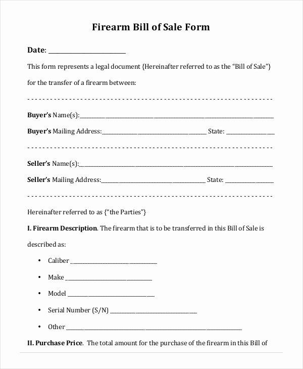 Firearms Bill Of Sale Template Luxury Printable Blank Bill Of Sale Template 9 Free Word Pdf