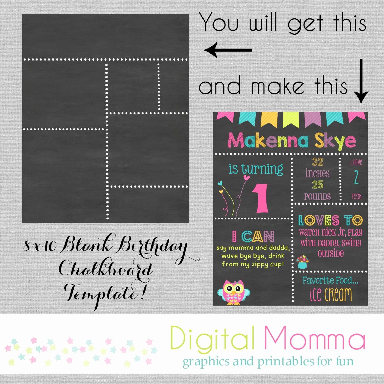 First Birthday Chalkboard Diy Awesome Printable Diy Blank Birthday Chalkboard Template by