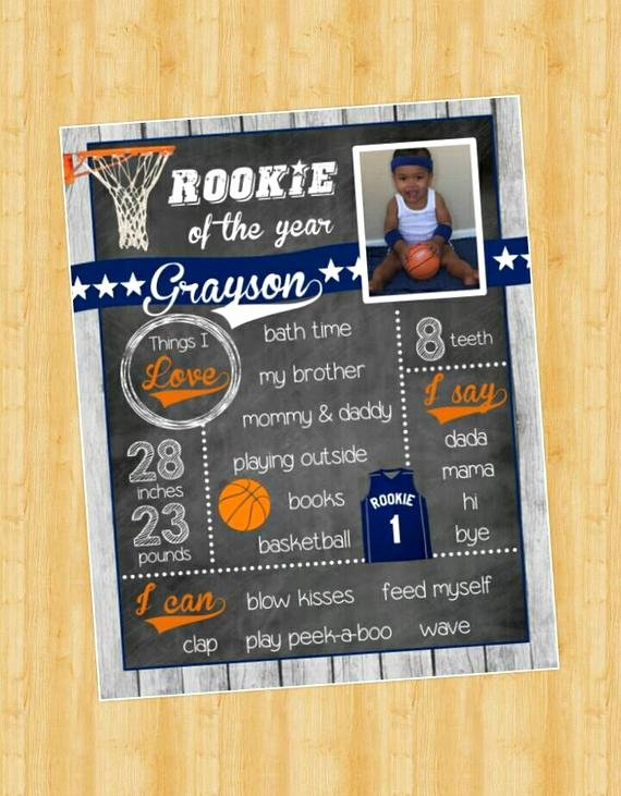 First Birthday Chalkboard Diy Beautiful Basketball Chalkboard Sign Rookie First Birthday Sign Diy