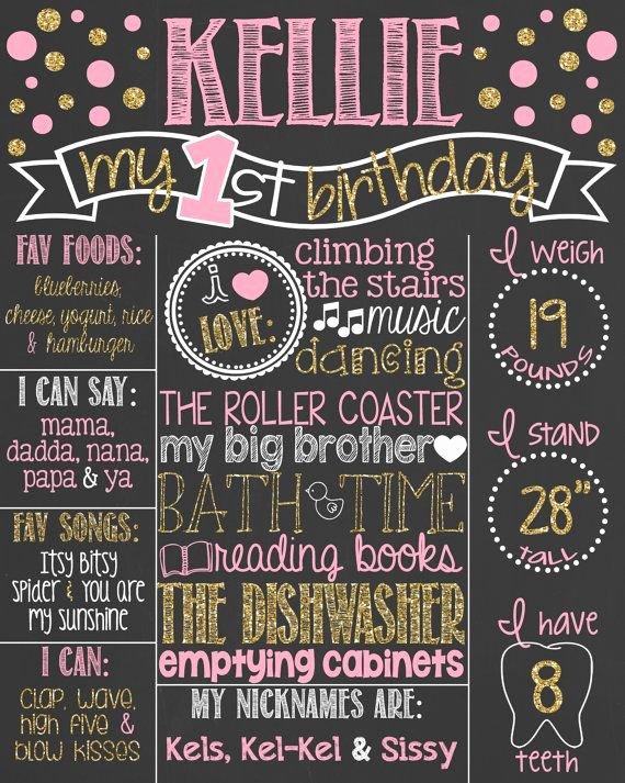 First Birthday Chalkboard Diy Beautiful Best 25 First Birthday Board Ideas On Pinterest