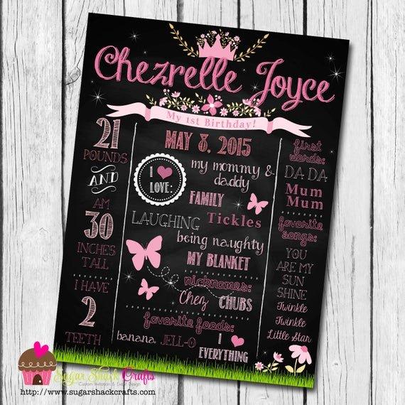 First Birthday Chalkboard Diy Fresh Diy Printable Princess Birthday Chalkboard Sign
