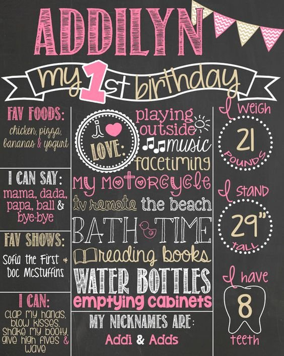 First Birthday Chalkboard Diy Inspirational Pink and Gold First Birthday Chalkboard Poster