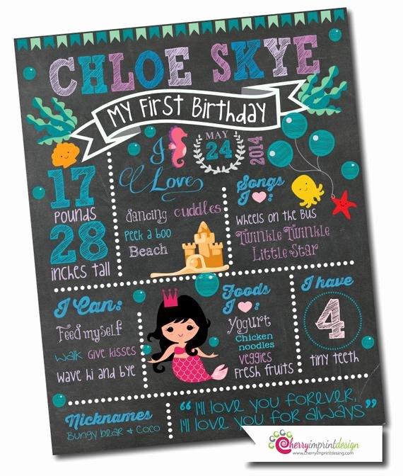 First Birthday Chalkboard Diy New First Birthday Chalkboard Milestones Little Mermaid themed