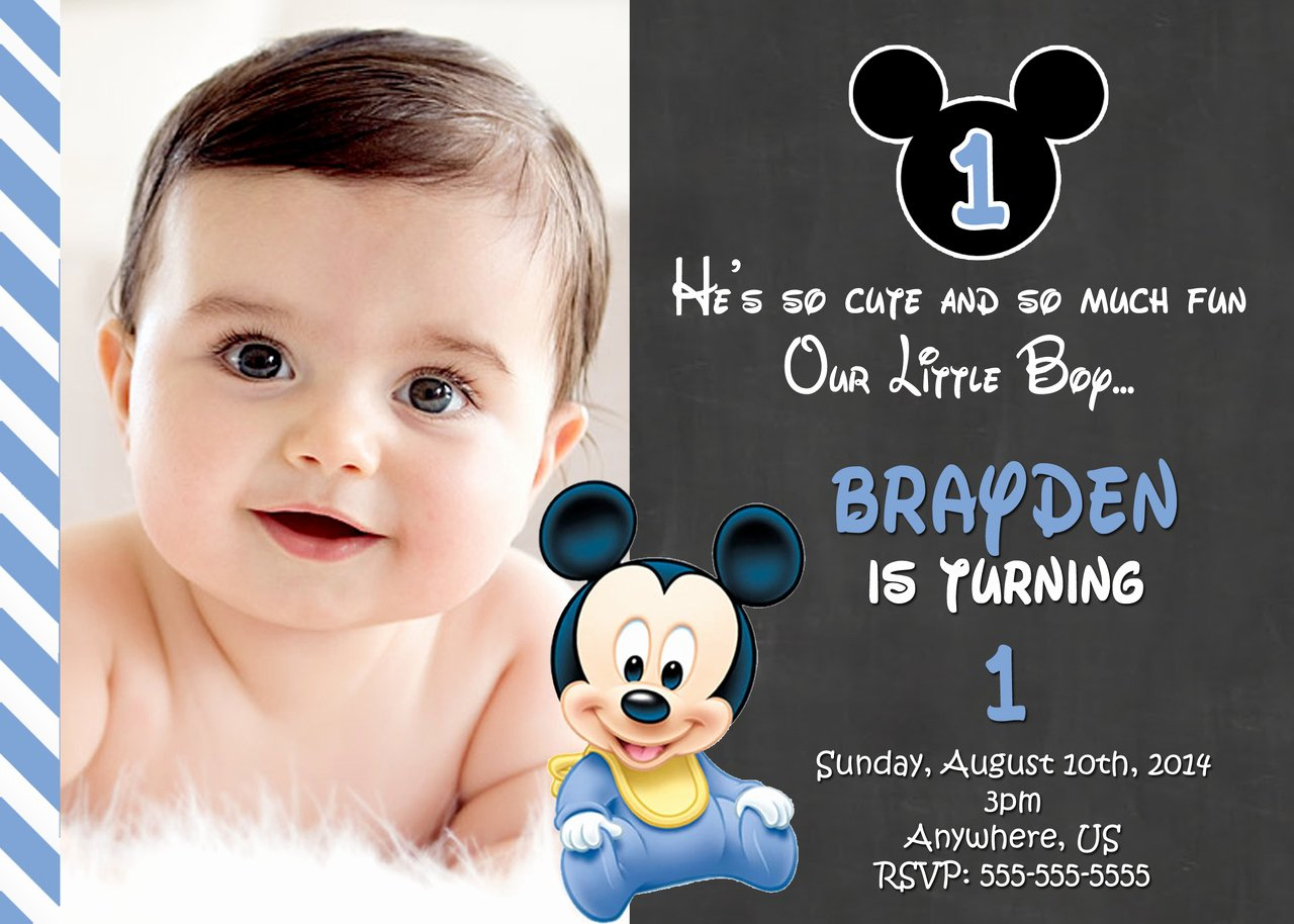 First Birthday Invitation Template Free Awesome Free Printable Mickey Mouse 1st Birthday Invitations
