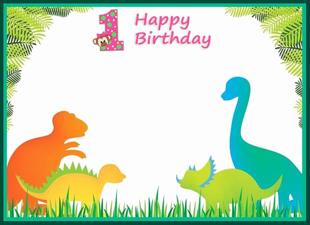 First Birthday Invitation Template Free Beautiful First Birthday Dinosaur Invitation Template