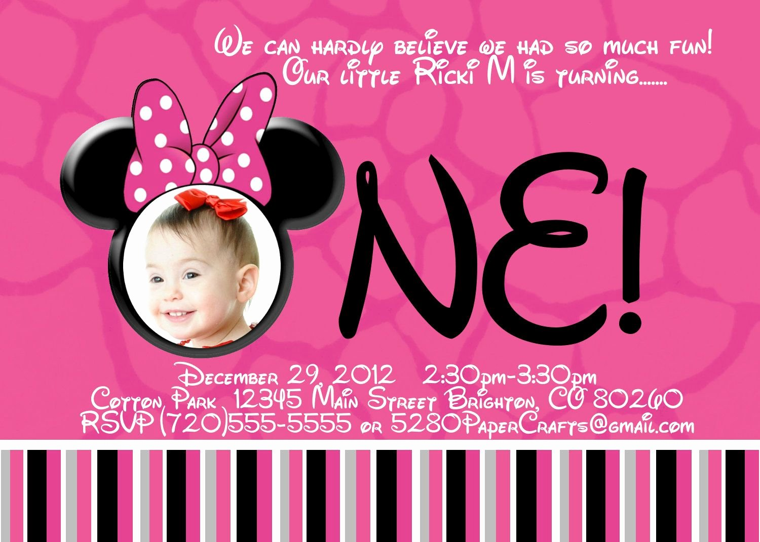 First Birthday Invitation Template Free Beautiful Free Printable Minnie Mouse 1st Birthday Invitations