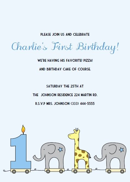 First Birthday Invitation Template Free Beautiful Printable 1st Birthday Invitations Elephant and Giraffe