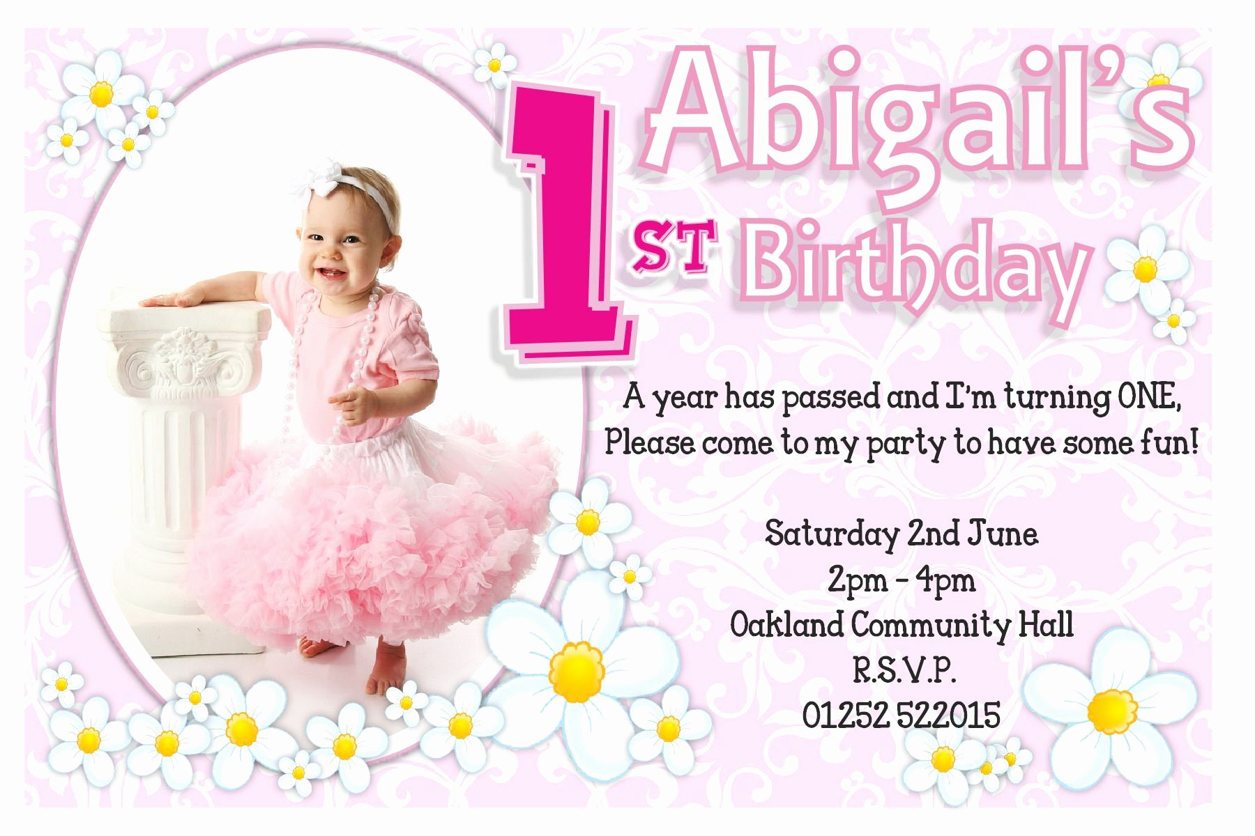 First Birthday Invitation Template Free Elegant 1st Birthday Invitations Girl Free Template 1st Birthday