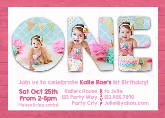 First Birthday Invitation Template Free Elegant Shop Template First 1st One Birthday Invite